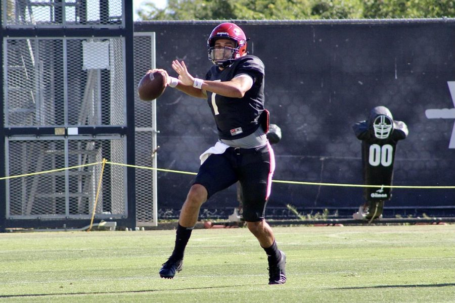 San Diego State football senior quarterback Lucas Johnson throws a pass during the Aztecs' annual spring game on April 30, 2021 at the SDSU football practice field next to the Sports Deck.