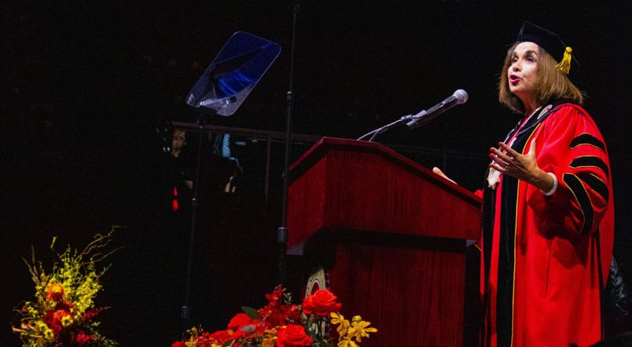 San Diego State University President Adela de la Torre addresses the attendees of her inauguration in 2019.