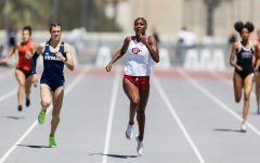 San Diego State track and field senior sprinter Jalyn Harris runs during the annual Mountain West Challenge on April 7, 2021 at the Aztrack Sports Deck.