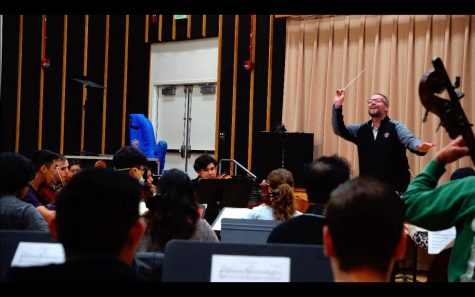 Michael Gerdes conducting the SDSU orchestra in a performance of Edward Elgars Enigma Variations in March 2020.