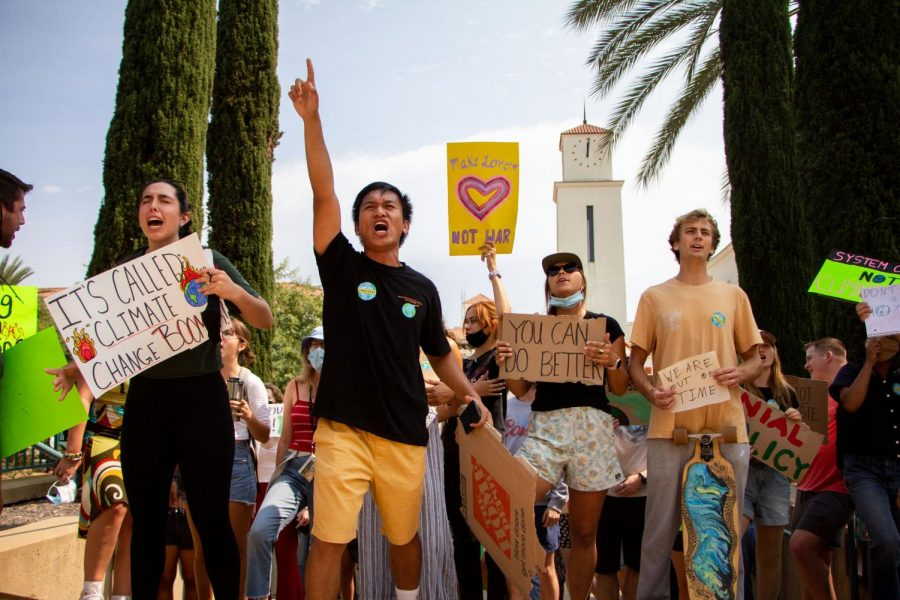 Students+gathered+in+the+Conrad+Prebys+Aztec+Student+Union+and+marched+throughout+the+campus+demonstrating+their+stance+on+the+universitys+impact+on+climate+change.