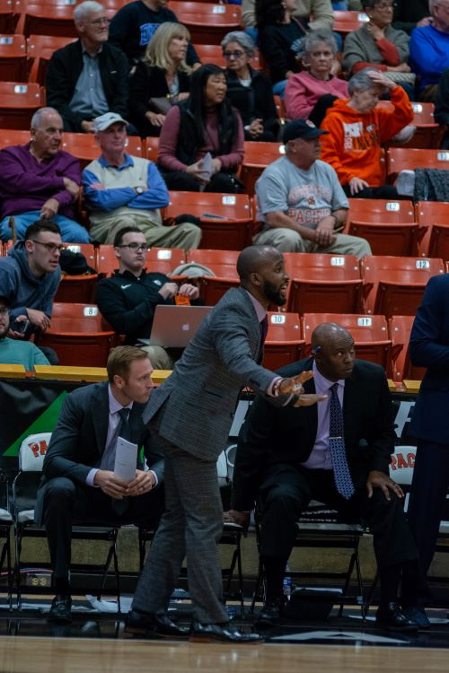 Coach Jaydee Luster during a game at University of Pacific. (Credit: San Diego State Athletics)