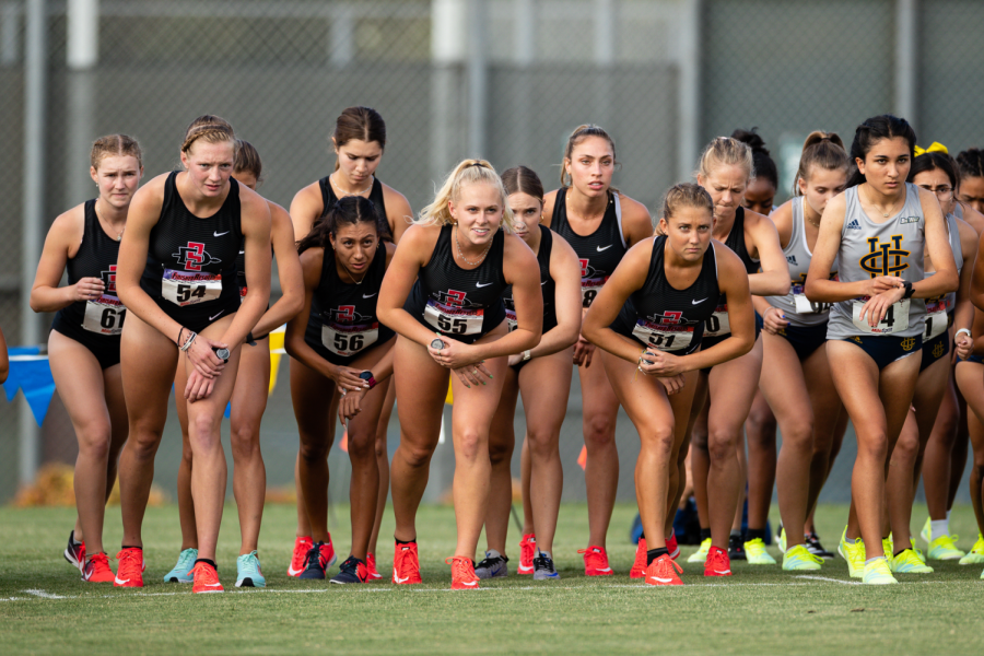 SDSU+Cross+Country+runners+line+up+prior+to+their+race+at+the+Anteater+Invitational+%28Courtesy+of+SDSU+Athletics%29