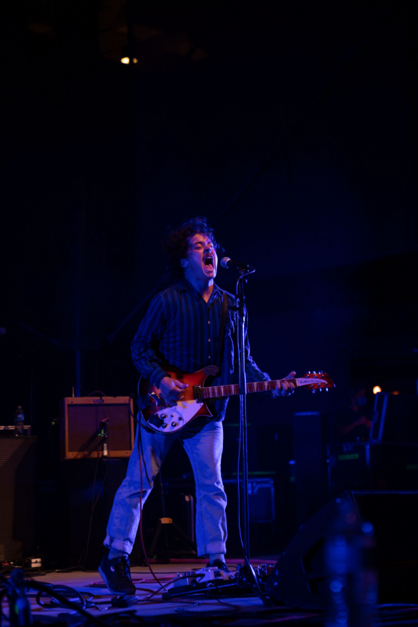 The Districts lead singer Rob Grote enthusiastically singing the chorus of Cheap Regrets.