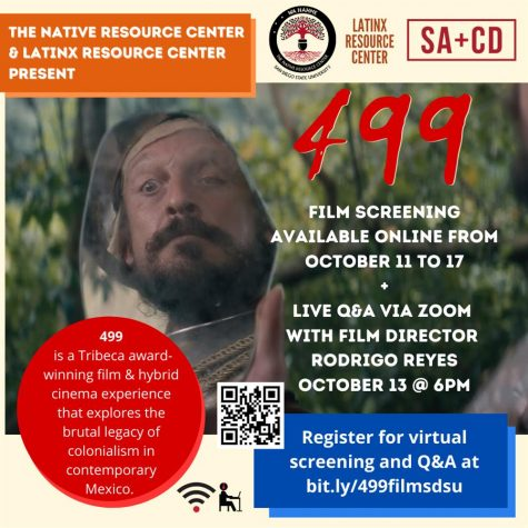 Flyer for Q & A session held for the film 499 on Wednesday, Oct. 13.