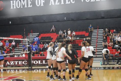 The Aztecs huddle up during a match against Air Force.