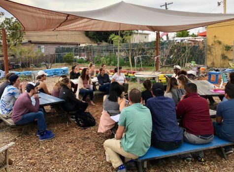 Food Studies class on a field trip to Mount Hope Community Garden in Southeast San Diego.
