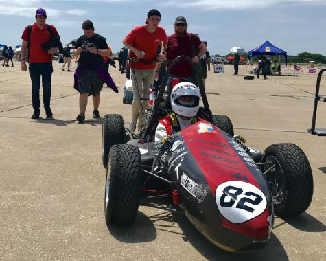 Aztec Racing driver Bryan Chaiyasane coming back from endurance at the 2019 Formula SAE race competition.