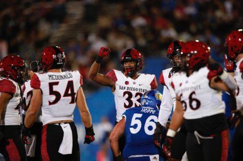Junio safety Patrick McMorris (33) raises his fist during the gameagaisnt San Jose State (Courtesy of