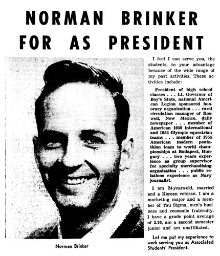 Norman Brinker was Associated Students president in 1956