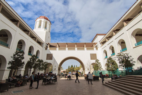 The main Lee and Frank Goldberg Courtyard at the Conrad Prebys Aztec Student Union